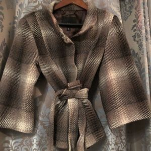 ❄️ Tweed Belted Jacket XL Brown, Taupe and Gray.